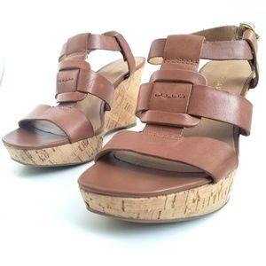 💝🌷 Franco Sarto - Brown Strappy Cork Wedges